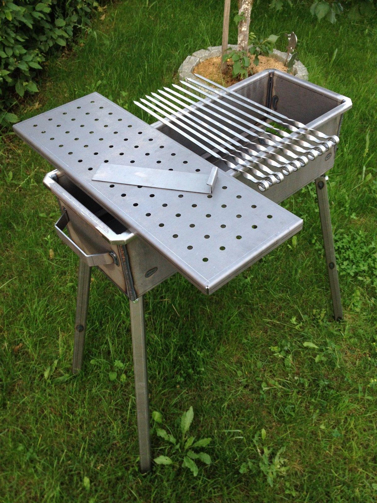 schaschlik grill mangal aus 2mm stahl st37 ebay. Black Bedroom Furniture Sets. Home Design Ideas